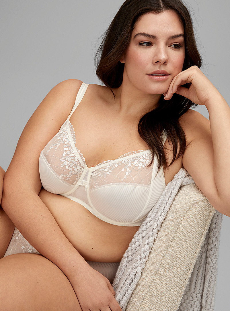 Chantelle Ivory White Pont Neuf full coverage bra Plus size for women