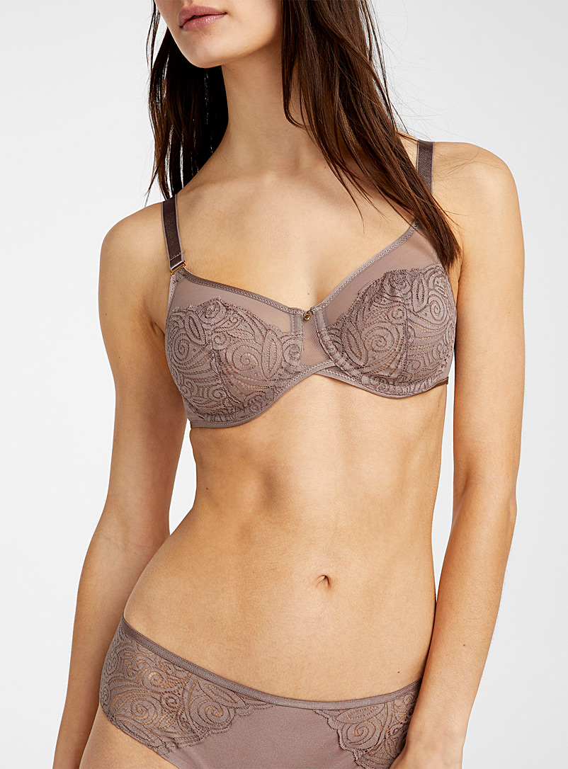 Chantelle Light Brown Pyramid balconette bra for women