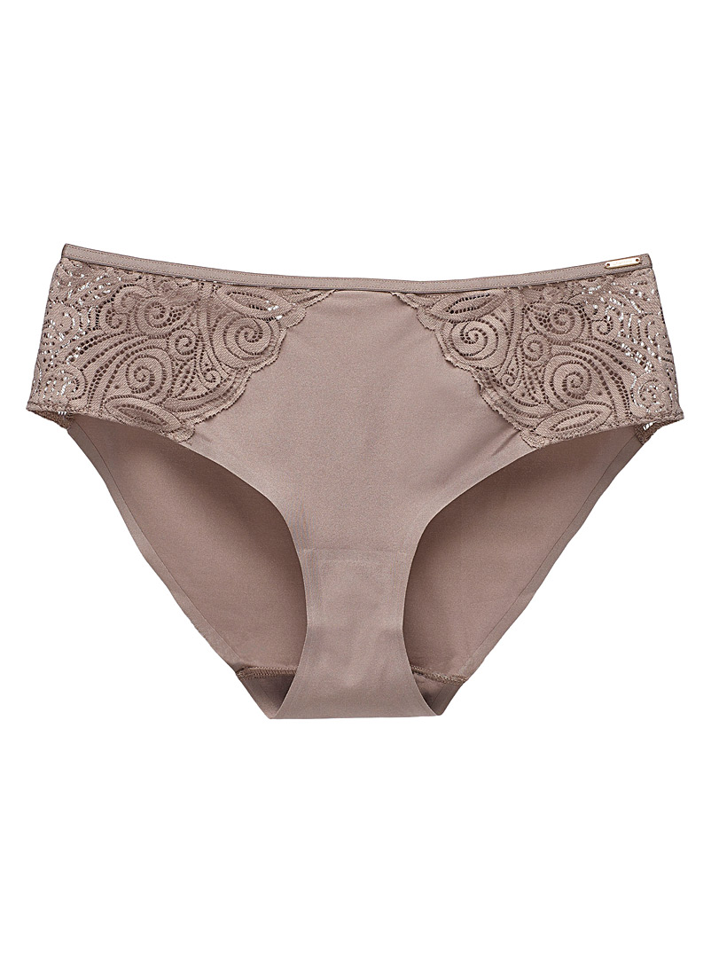 Chantelle Light Brown Pyramid arabesque lace hipster for women