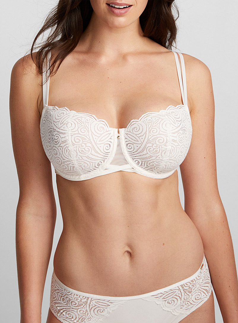 Chantelle Cream Beige Pyramid arabesque lace balconette bra for women