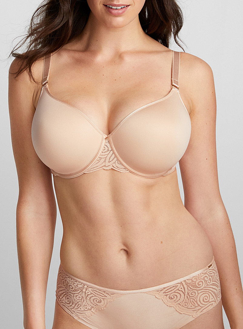 Lace accent full coverage bra - T-Shirt - Tan