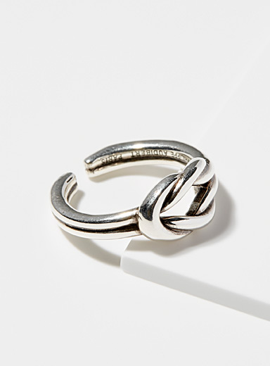 Knotted silver ring