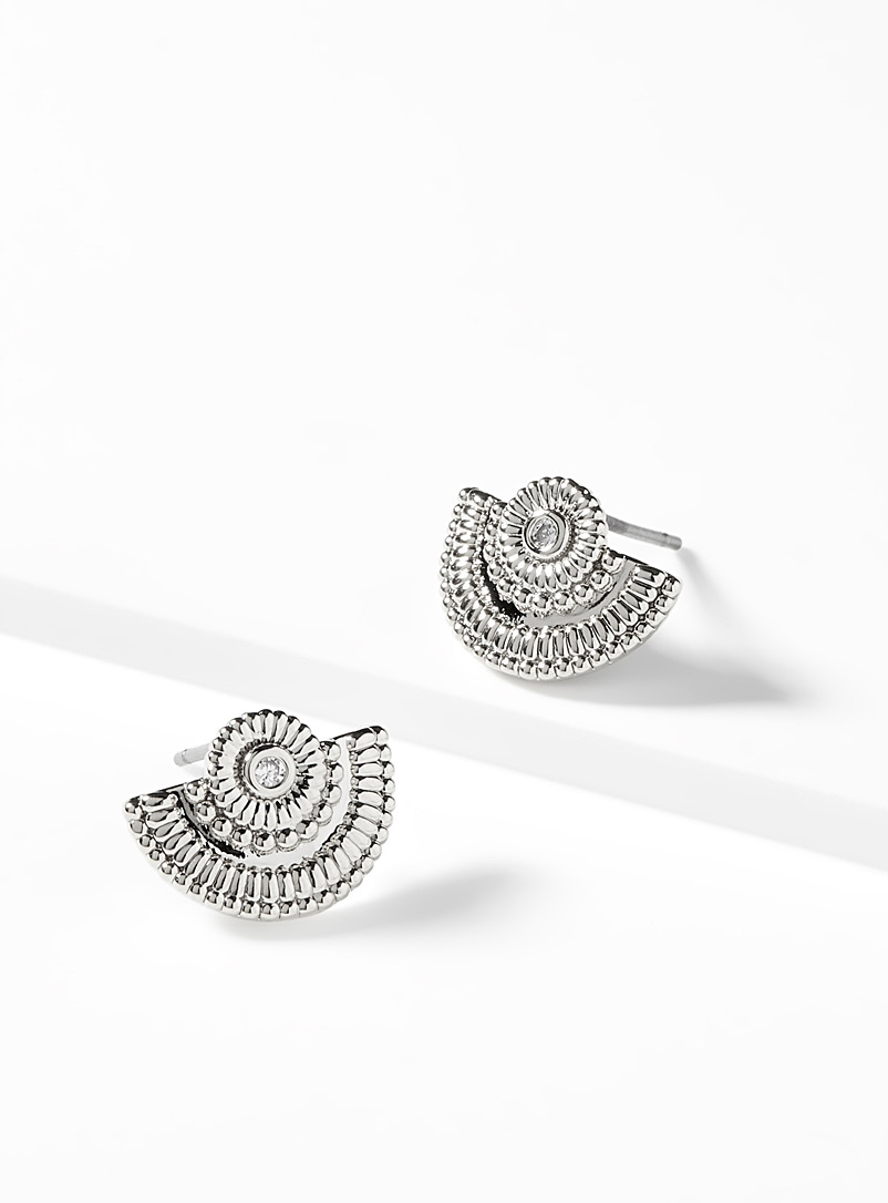 Detailed domed earrings - Earrings - Silver