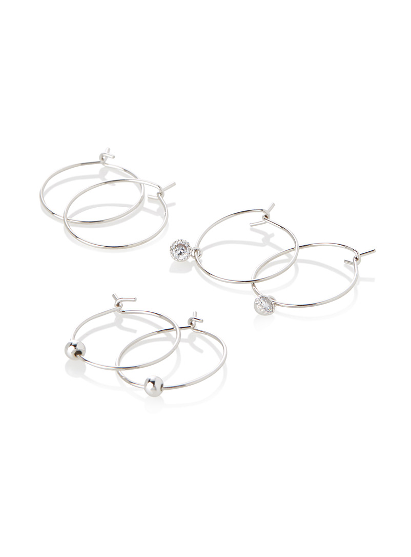 Simons Silver Three-style mini hoops  Set of 3 for women