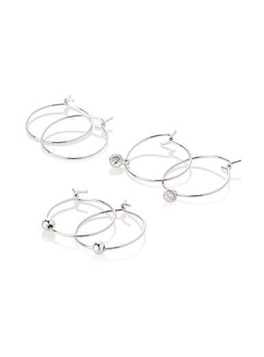 Three-style mini hoops <br>Set of 3