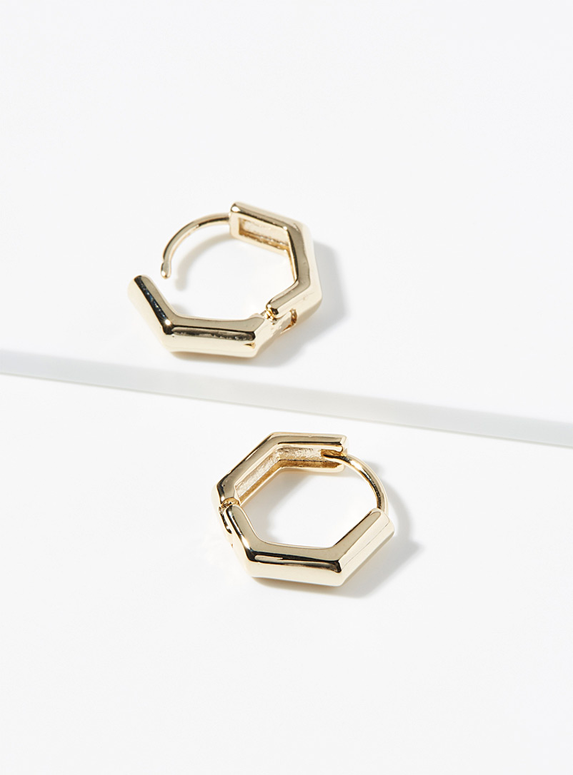Simons Gold Hexagonal earrings for women