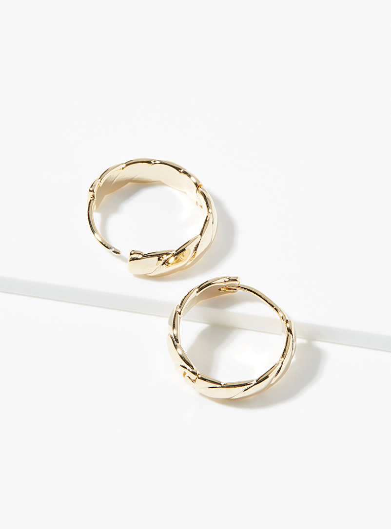Simons Gold Twisted embossed hoops for women