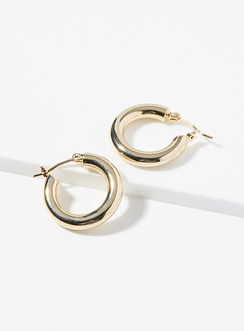 Simons Gold Mirror domed hoops for women