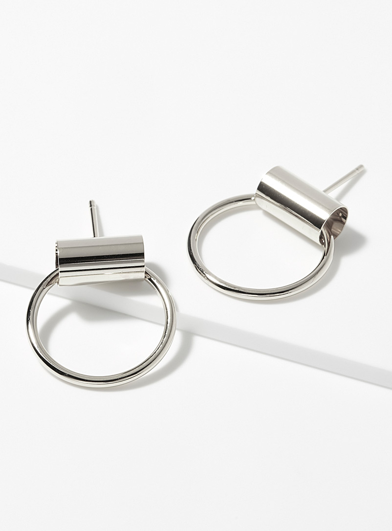 Geo duo hoops - Earrings - Silver