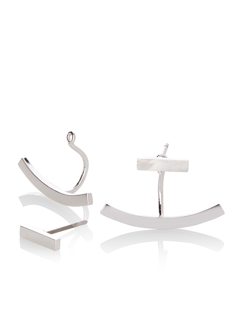 Simons Silver Minimalist two-sided earrings for women