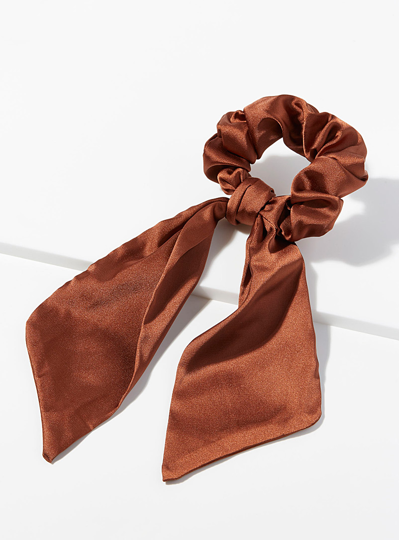 Simons Brown Satiny scarf scrunchie for women