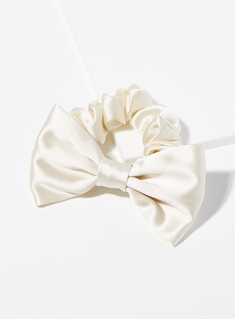 Simons White Satiny bow solid scrunchie for women