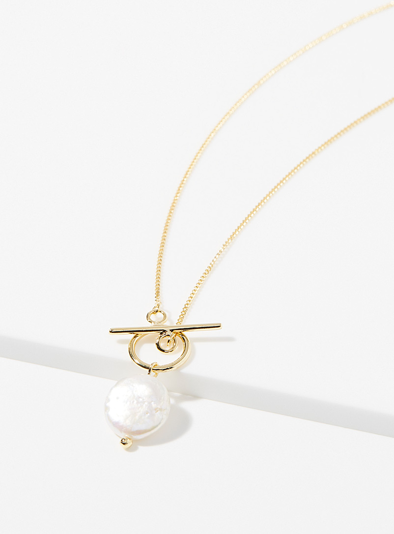 Simons Silver Pearly pendant necklace for women