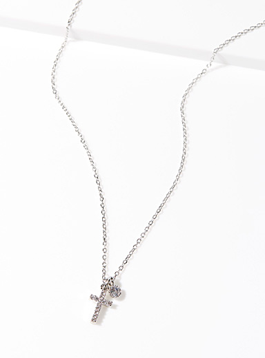 Shimmery cross necklace