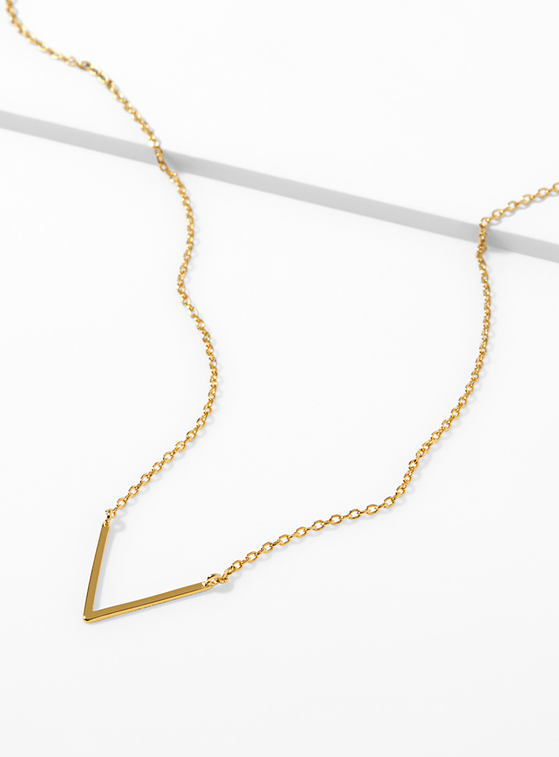 V chain necklace - Necklaces - Golden Yellow