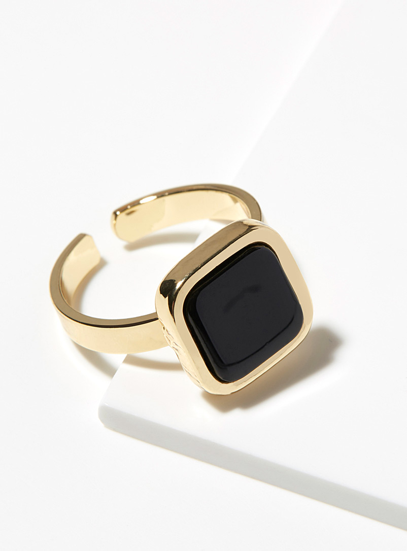 Square stone ring - Rings - Patterned Yellow