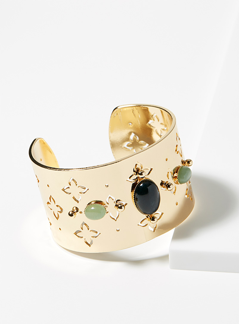 Simons Assorted green Golden sand cuff bracelet for women