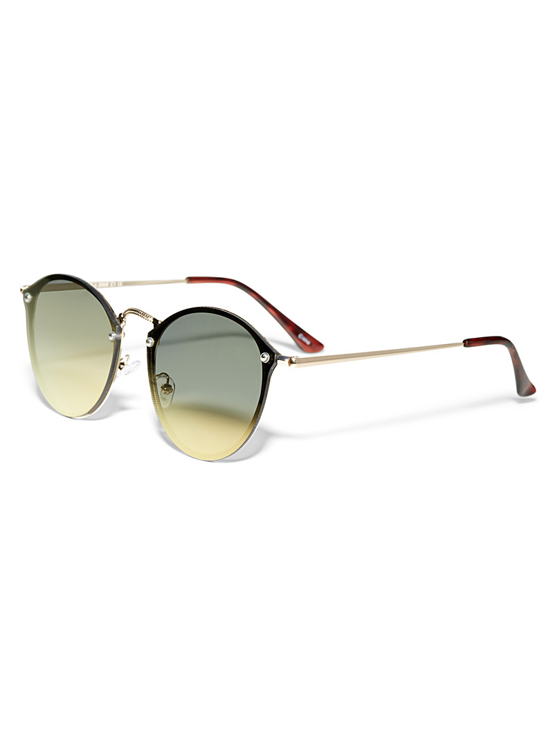 Colourful reflection round sunglasses - Less than $50 - Golden Yellow