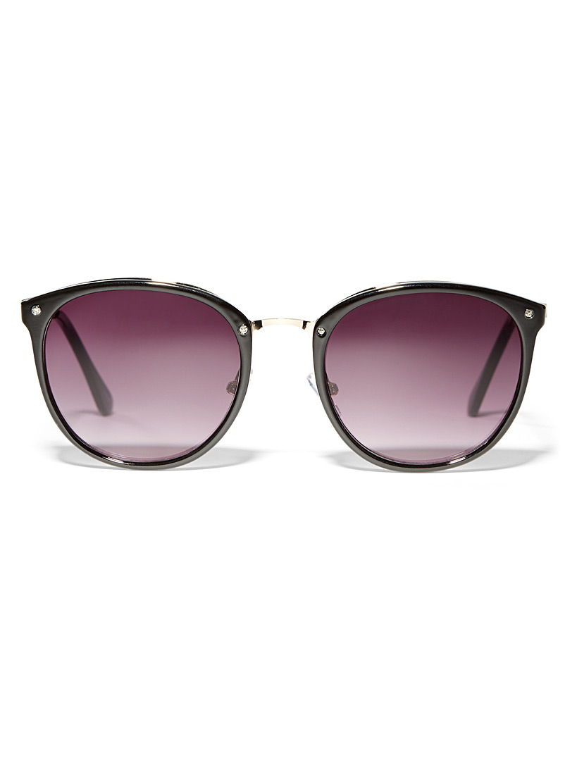 Metal accent round sunglasses