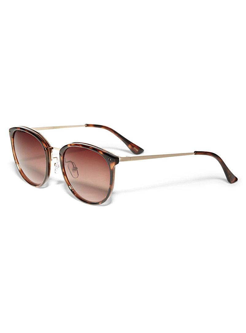 Simons Light Brown Metal accent round sunglasses for women