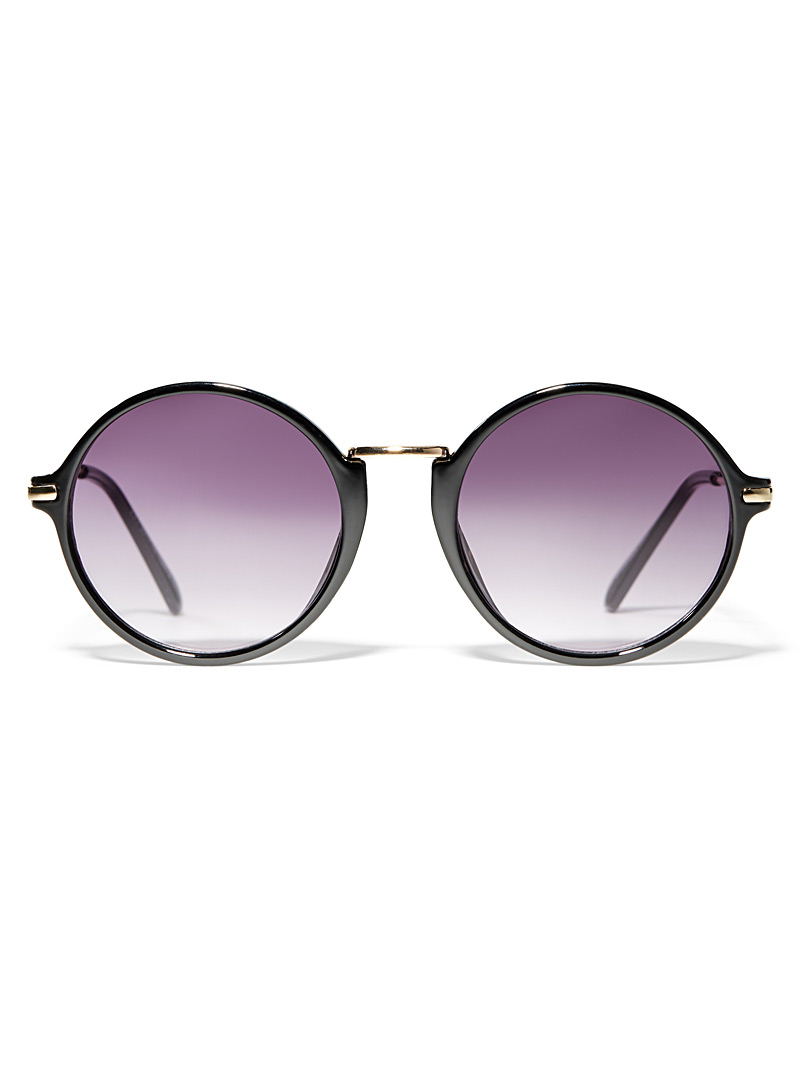 Mixed media round sunglasses - Less than $50 - Black