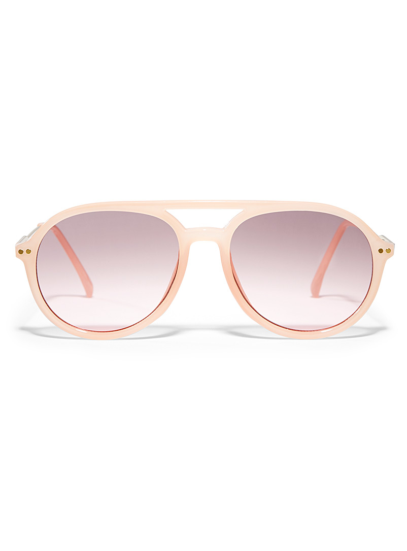 Simons Cream Beige Colourful aviator sunglasses for women