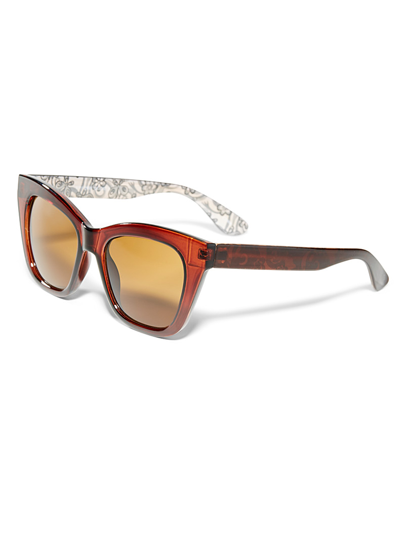 Simons Black Patterned cat-eye sunglasses for women