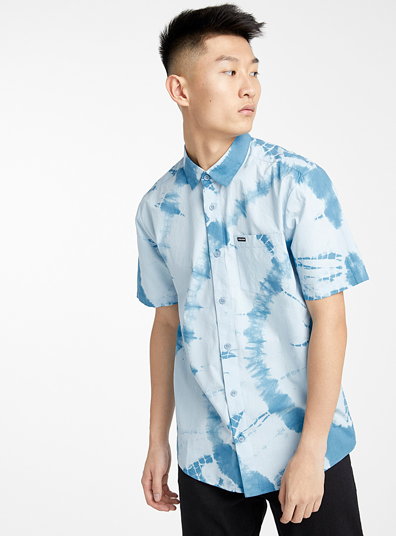 Volcom Blue Tie-dye sky blue shirt for men