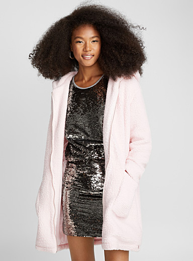 Soft pink plush coat