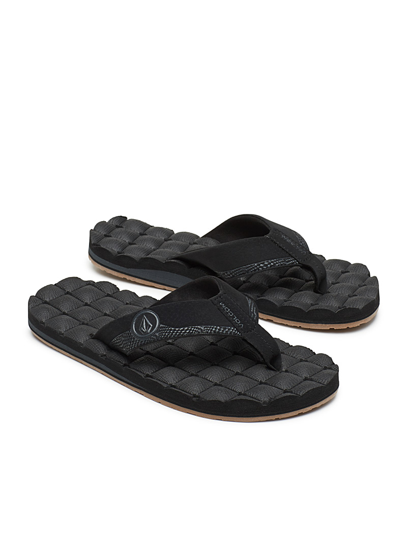 Recliner leather-strap sandals - Sandals - Black