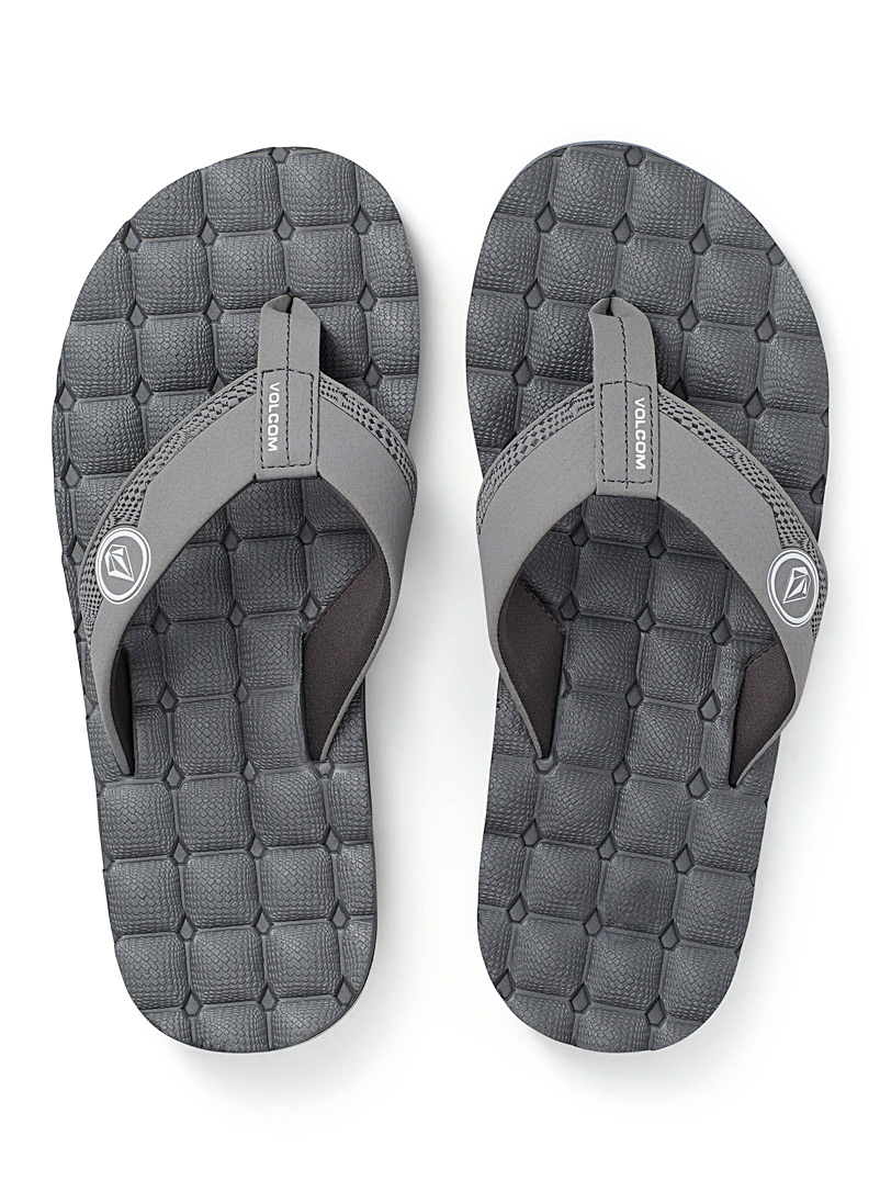 Volcom Grey Recliner leather-strap sandals for men