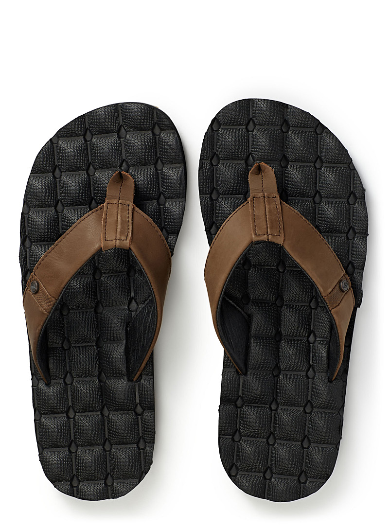 Volcom Brown Recliner leather-strap sandals for men