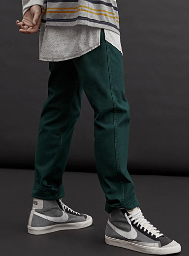 Teal denim chinos <br>Straight fit
