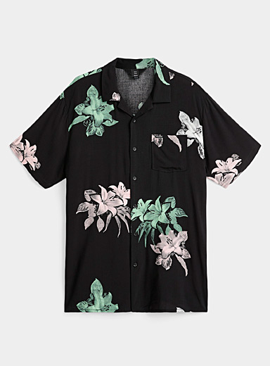 Contrast flower camp shirt