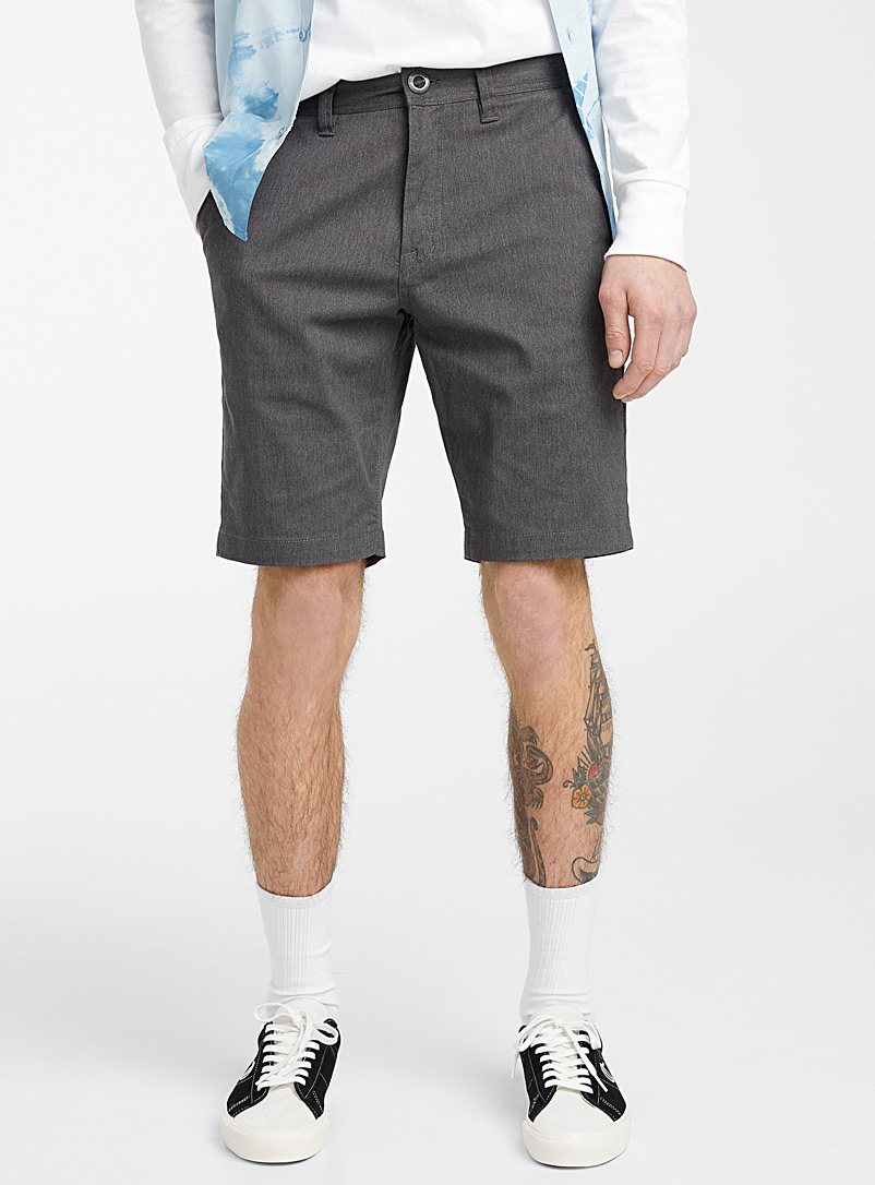 Volcom Light Grey Frikin chino Bermudas for men