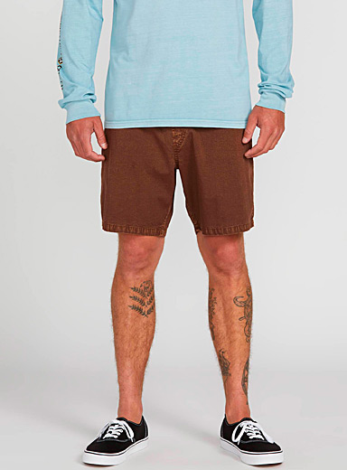Volcom Brown Faded brown pull-on short for men