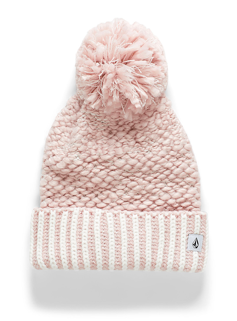 Volcom Pink Embossed-knit pompom tuque for women