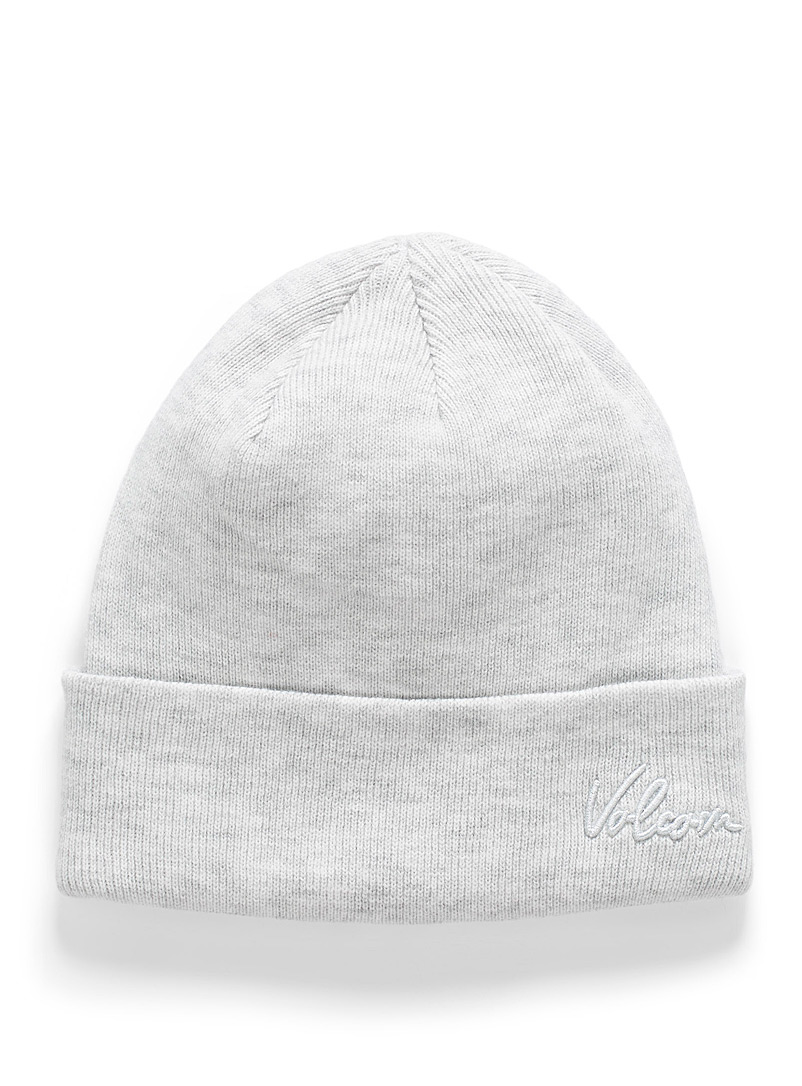 Volcom Grey Embroidered signature cuffed tuque for women