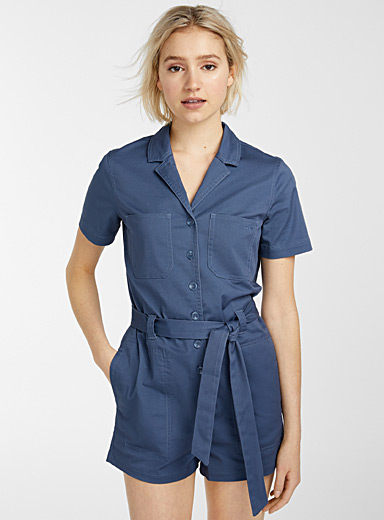 Volcom Baby Blue Utility bowling romper for women