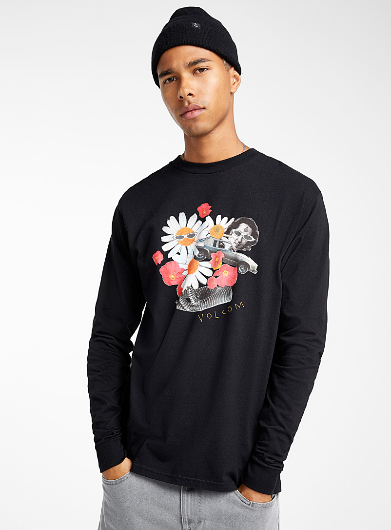 Surrealist collage T-shirt - Long sleeves - Black