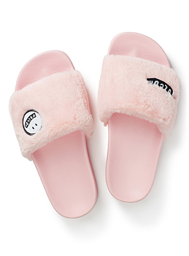 Lil faux-fur slide slippers