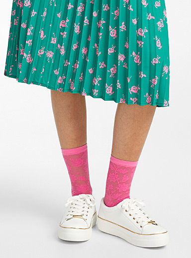 Emilio Cavallini Pink  Floral tapestry ankle socks for women