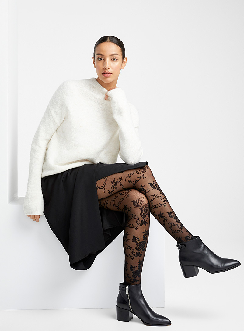 Baroque tapestry pantyhose - Patterned Tights - Black