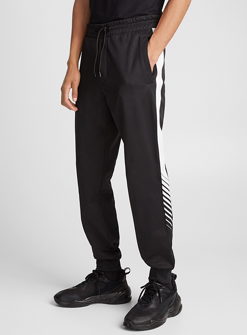 White striped band microfibre joggers - J.Lindeberg - Black