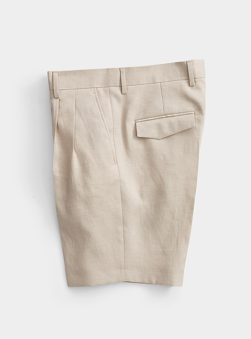 J. Lindeberg Cream Beige Pleated linen Bermudas for men