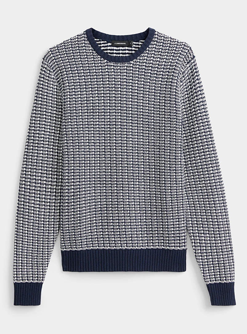 J. Lindeberg Marine Blue Chester graphic jacquard sweater for men