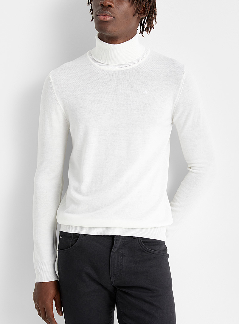 J. Lindeberg White Lyd merino turtleneck for men