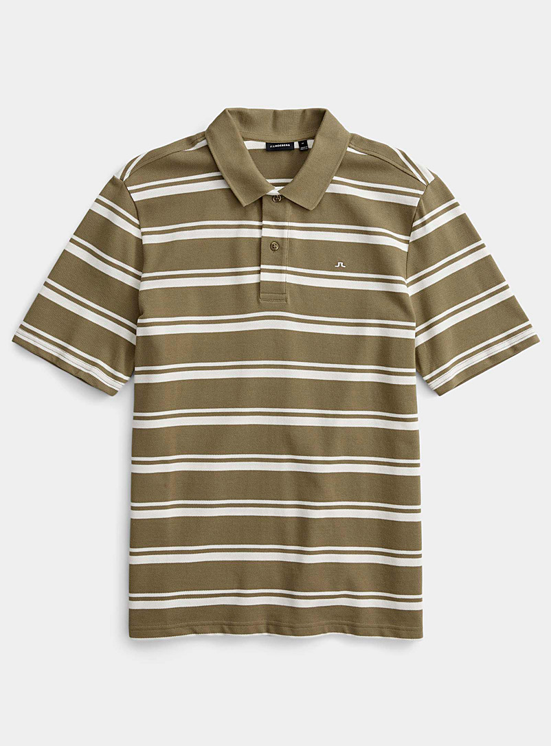 J. Lindeberg Green Theo striped polo for men