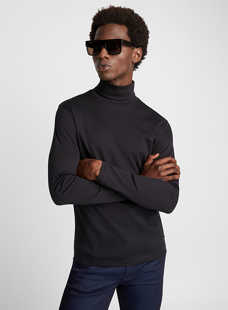 Jersey turtleneck T-shirt - J.Lindeberg - Black