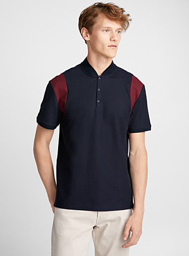 Bomber-collar polo